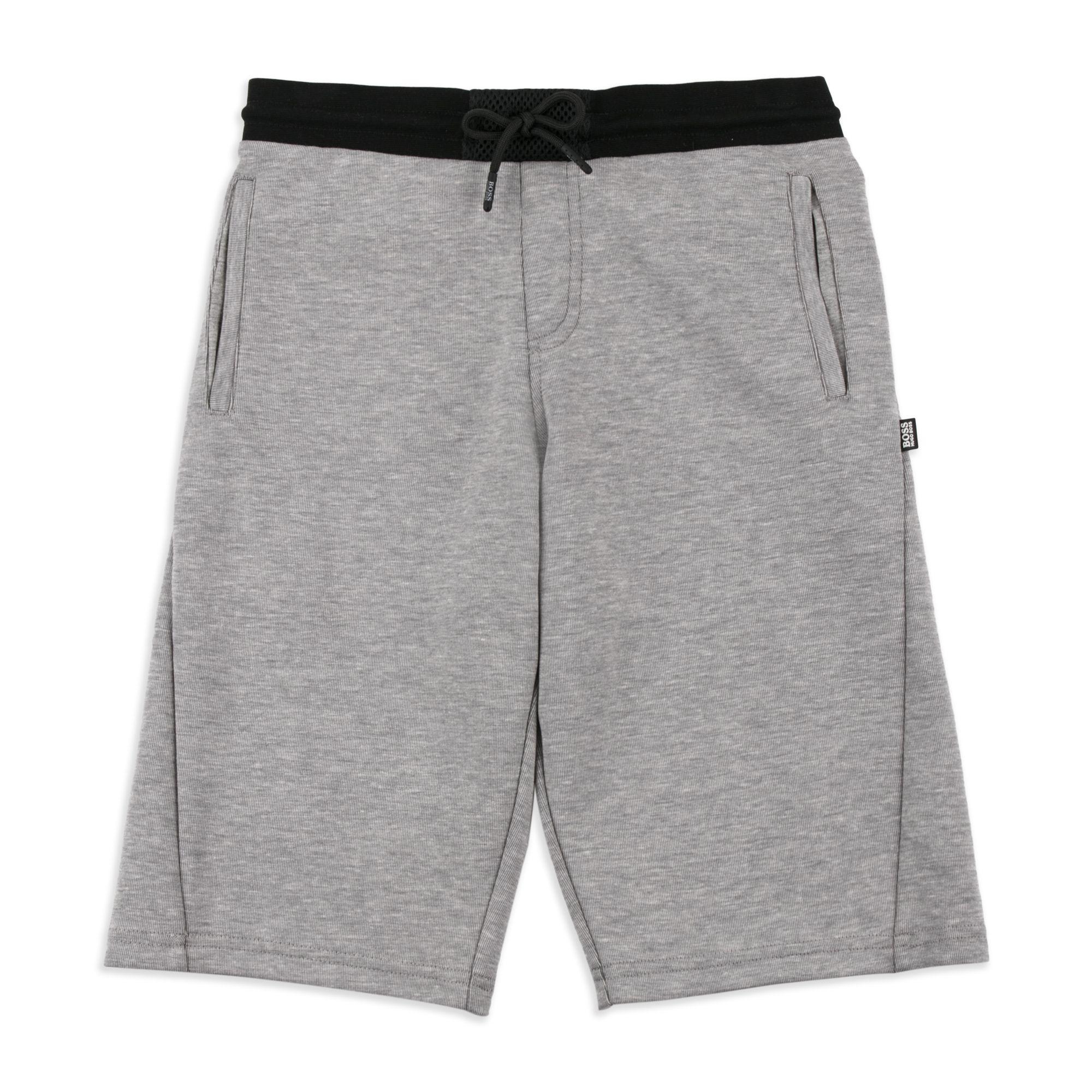 3fda576e4d73 BOSS KIDS Boys Mesh Panel Sweat Shorts - Grey Boys sweat shorts •  Lightweight cotton blend • Elasticated waist • Drawstring ties • Three  pocket design ...