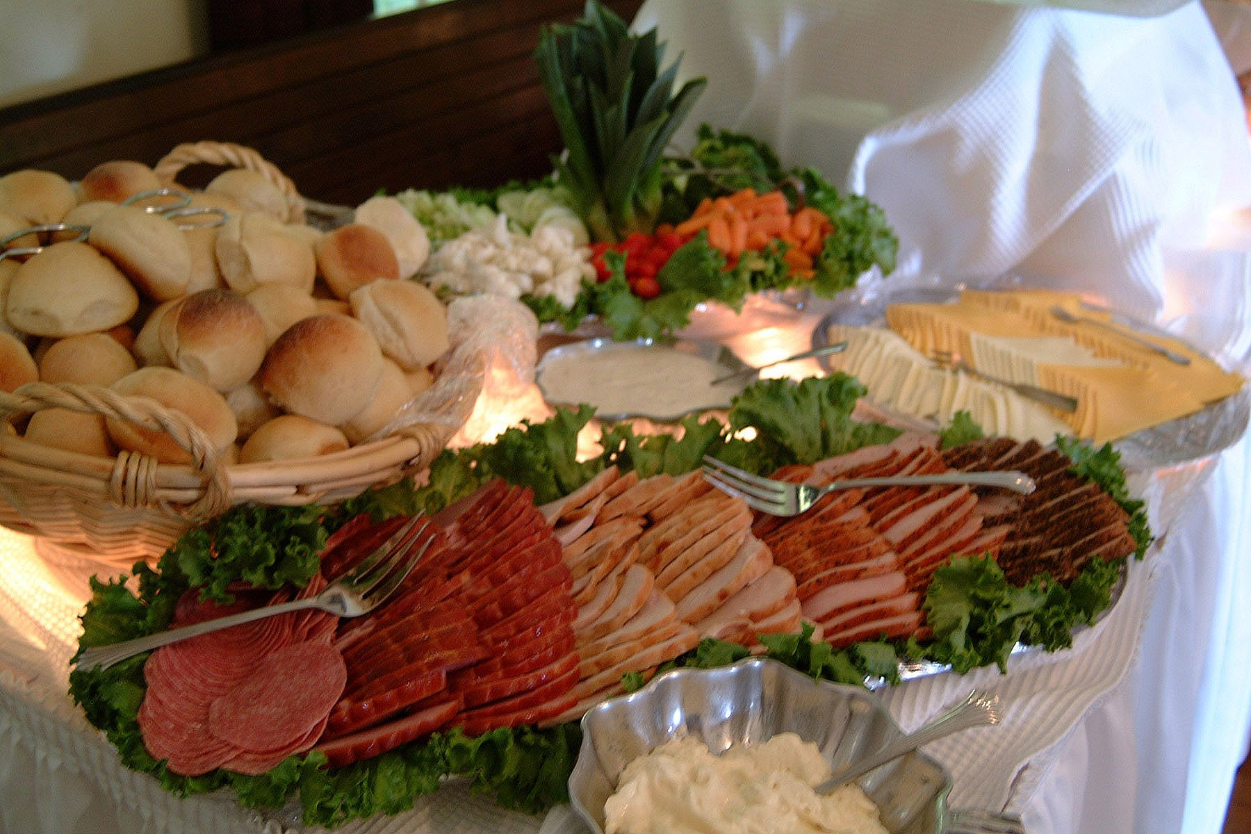 Beautifully Catered Wedding Reception Food Table At Green River