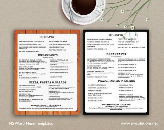 Food Menu Menus Design Takeout Us Restaurant Menutemplates Ma
