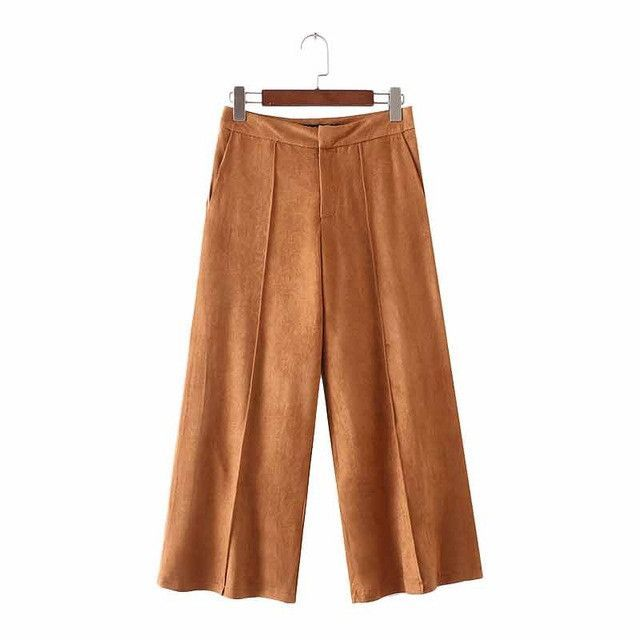 Women suede wide leg pants pockets chic solid loose trousers ladies streetwear casual pantalones mujer KZ870