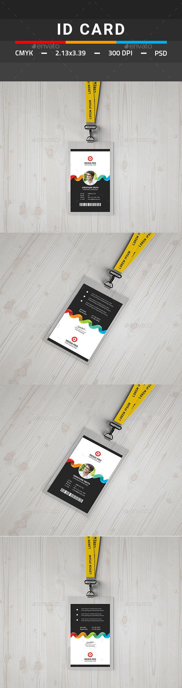 IDCard - Miscellaneous Print Templates | ID card Design | Pinterest ...