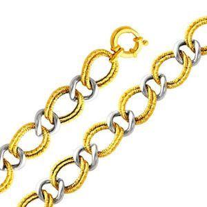 "14k Two Tone Gold Designer Contemporary Ring Link Elegant Bracelet (Length: 8""""; Measures: 15mm; Weight: 11.9 Grams Approx.)"