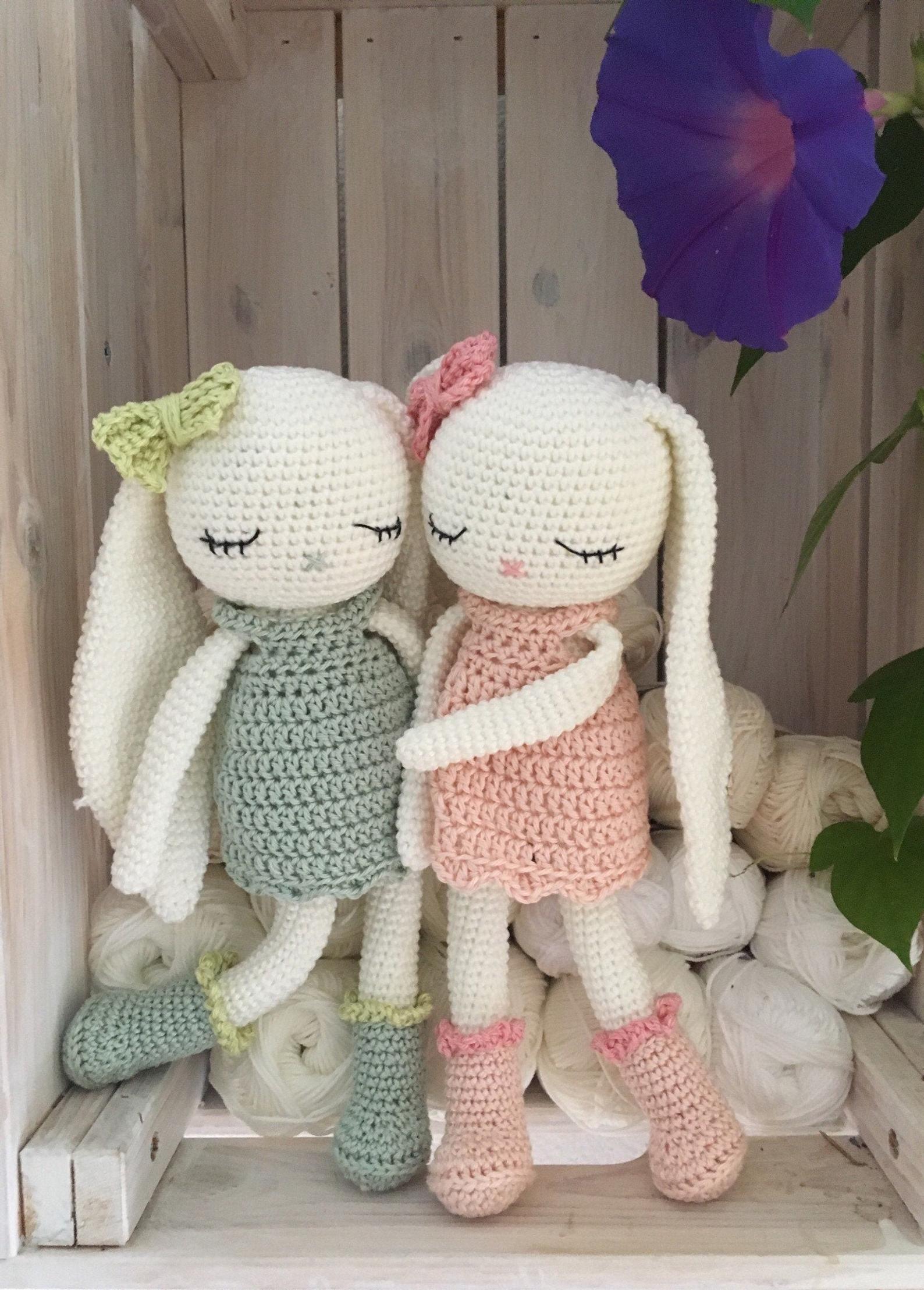 crochet longear Bunny, EVE, a crochet toy for a ne