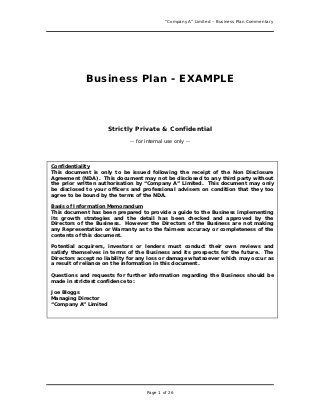 Business Plan Example Great Example For Anyone Writing A Business