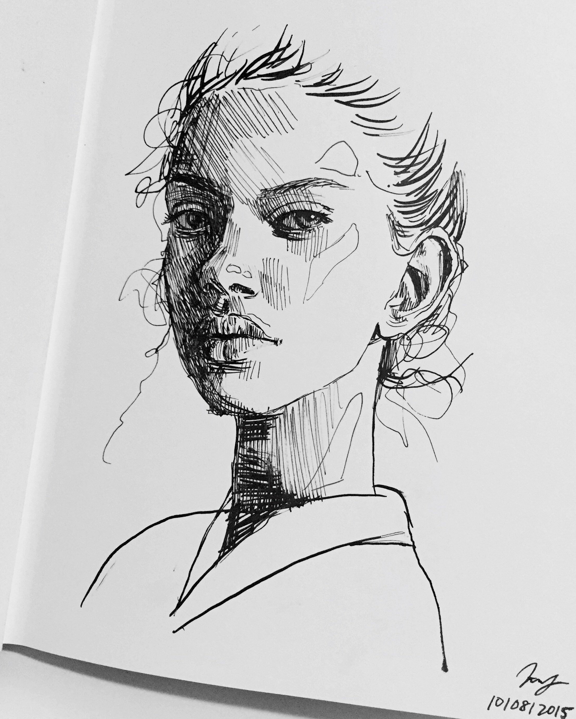 Pencil sketches are the best but i also love to draw with super thin black liners because they are always clean and the movement