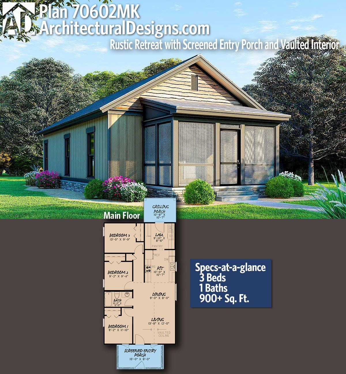 Architectural Designs Tiny Rugged House Plan 70602MK