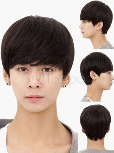 Alternative Mens Short Human Wigs Korean Style Natural Black 100