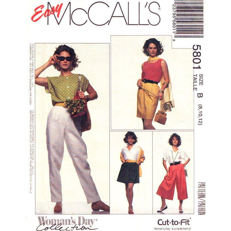 Womens Skirt Pants Culottes Pattern McCalls 5801 Slim Skirt Skort Trousers Size 8 10 12 UNCUT