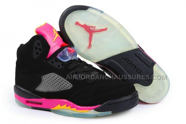 big sale df72c 4fb70 Wholesale Cheap Air Jordan 5 Retro Womens Black Deep Pink Yellow with  Chalcedony Pendant   Volt Lace