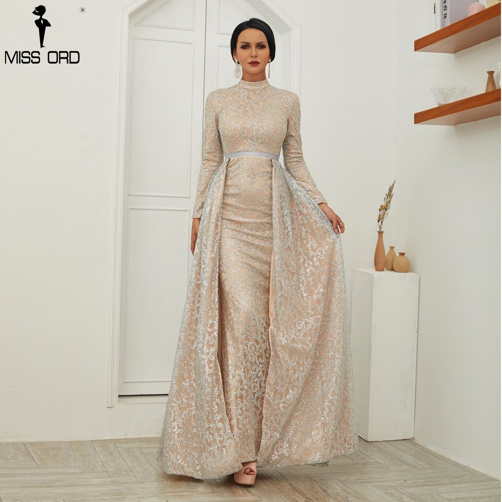 Missord 2018 Women Sexy High Neck Long Sleeve Glitter Evening Dresses  Female Cloak Maxi Elegant Party Dress Vestdios FT18502-in Dresses from  Women s ... 51f41b09e55e