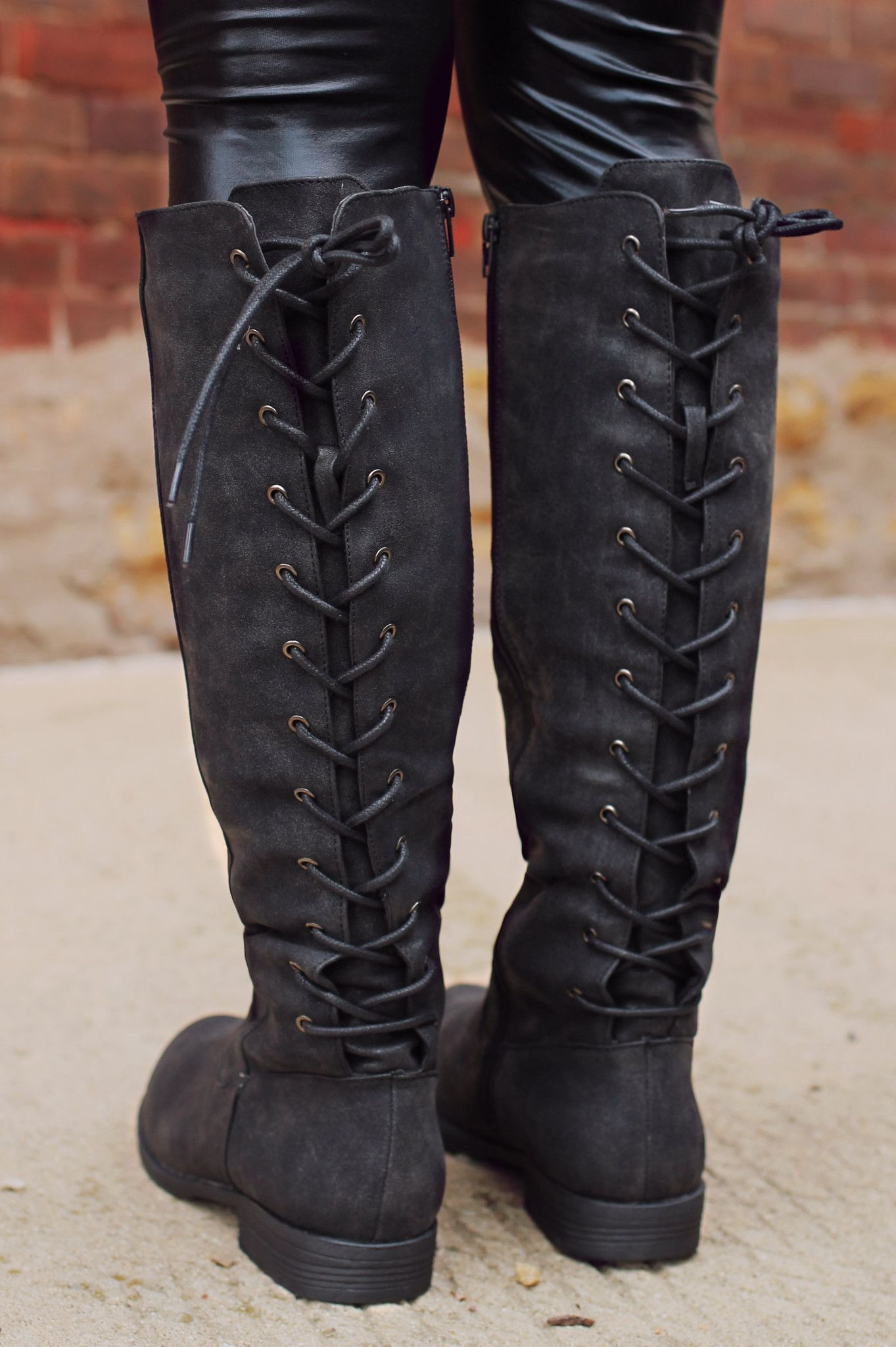 Lace Up Back Riding Boot Uoionline Com Women S Clothing