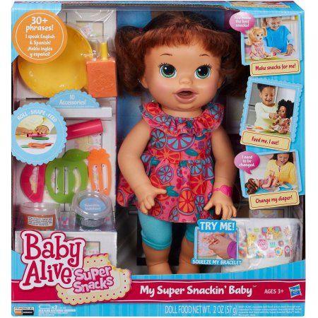 Baby Alive Super Snacks Snackin Sara Brown Hair Walmart Com Baby Alive Baby Alive Dolls Baby Dolls