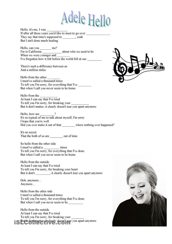 Adele Hello Song Atividades De Ingles Ingles Com Musica Aulas