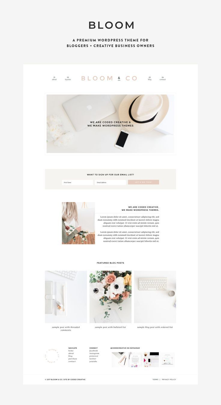 Bloom Theme for Lifestyle Bloggers Website design