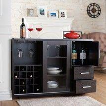 Wood Buffet Server Wine Bar Cabinet Dining Storage Rack Shelf Kitchen Furniture Sideboards Buffets Winebar