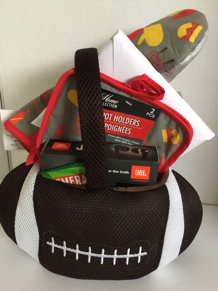 Football gift basket griller with j22 headphones coach