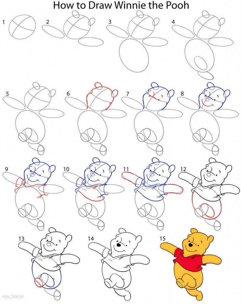 How to Draw Winnie the Pooh Step by Step in 2019 Drawing