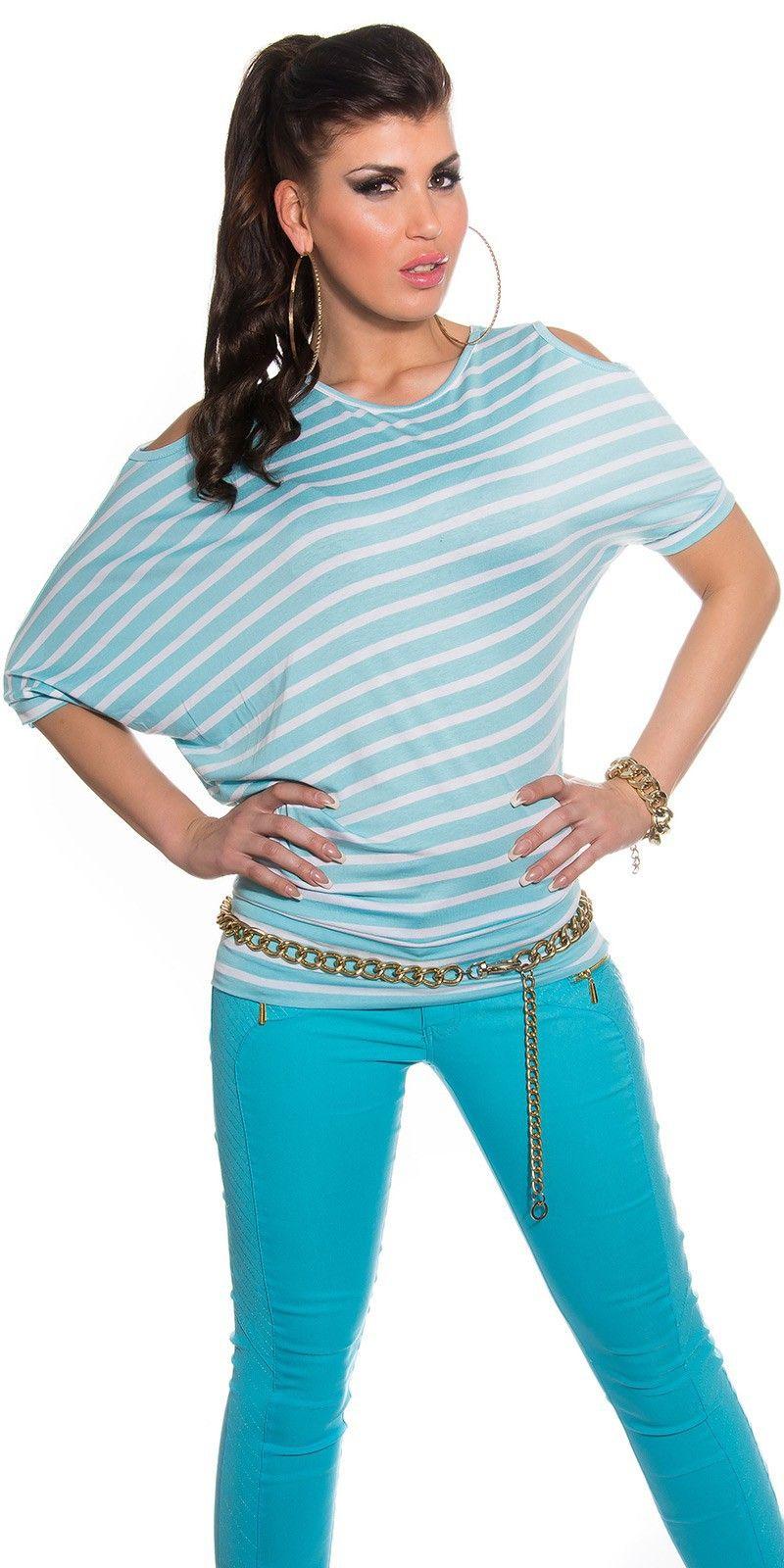 Camiseta murcielago rayada Modelo  MX3605 Camiseta con mangas de murcielago de tapiz rayado adornada con aberturas en los hombros.  Composicion: 95 % viscose / 5 % elastane