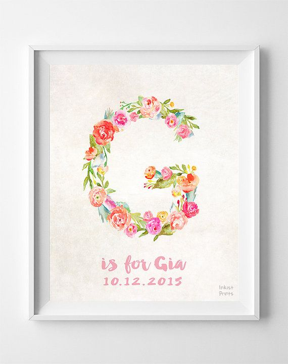 Alphabet Print Initials Custom Initial Print Alphabet Etsy Baby Print Art Personalized Prints Initial Prints