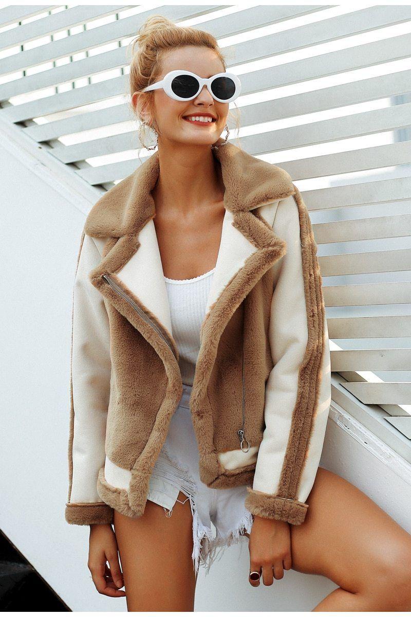 d4f21e969c Womens Aviator Faux Fur Jacket thick winter coat fluffy coat faux leather  winter jacket cool bomber jacket coats bomber jacket womens bomber jacket  women ...