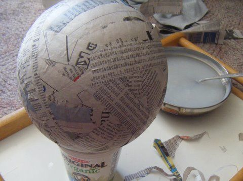 Paper mache dragon egg or add the yogurt cup to the egg for Paper mache ingredients