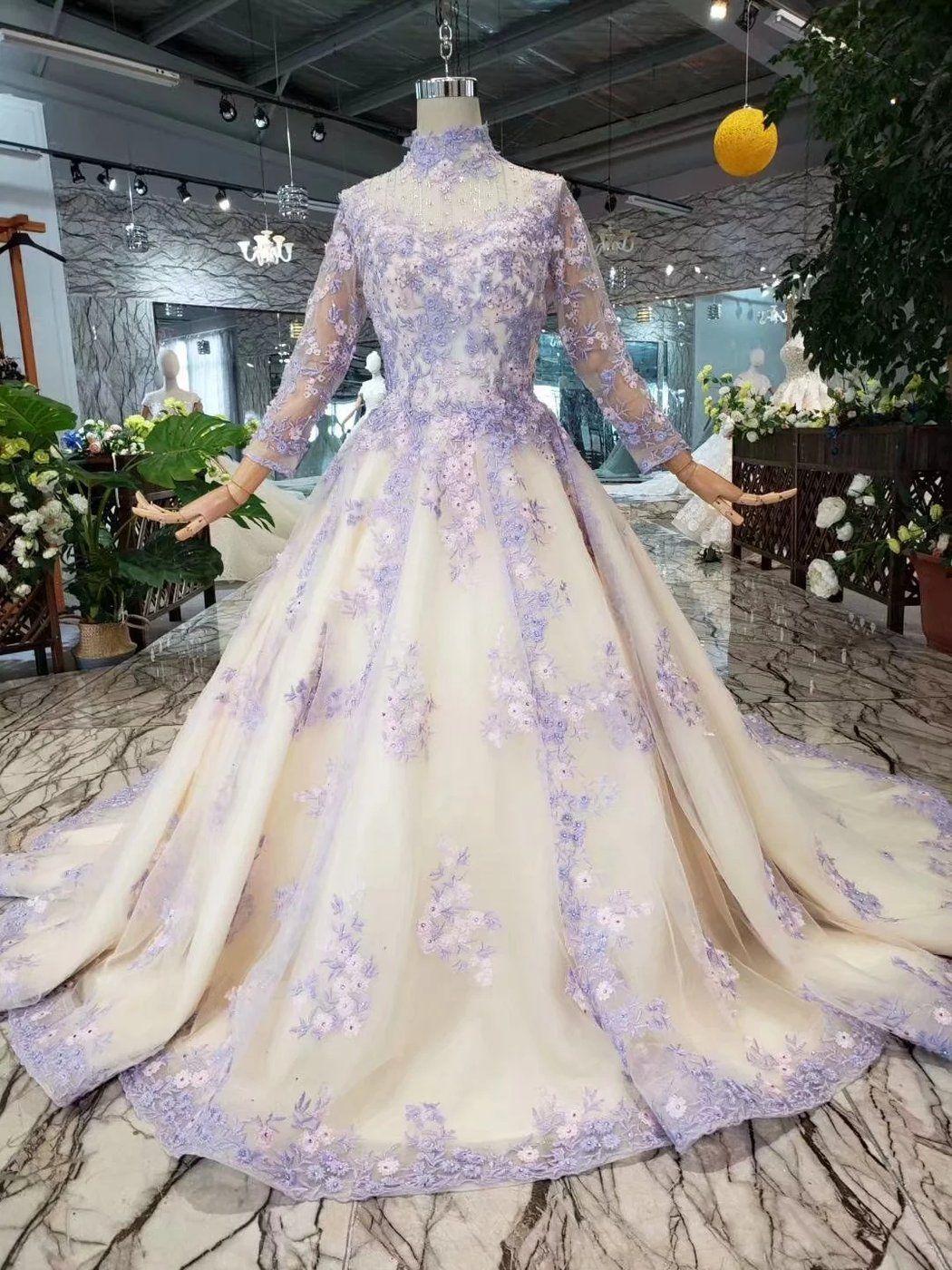 Light Purple Bridal One Shoulder Slim Luxury Trailing Wedding Dress Ostty Vestidos De Princesa Detalles De Moda Ropa [ 1400 x 1050 Pixel ]