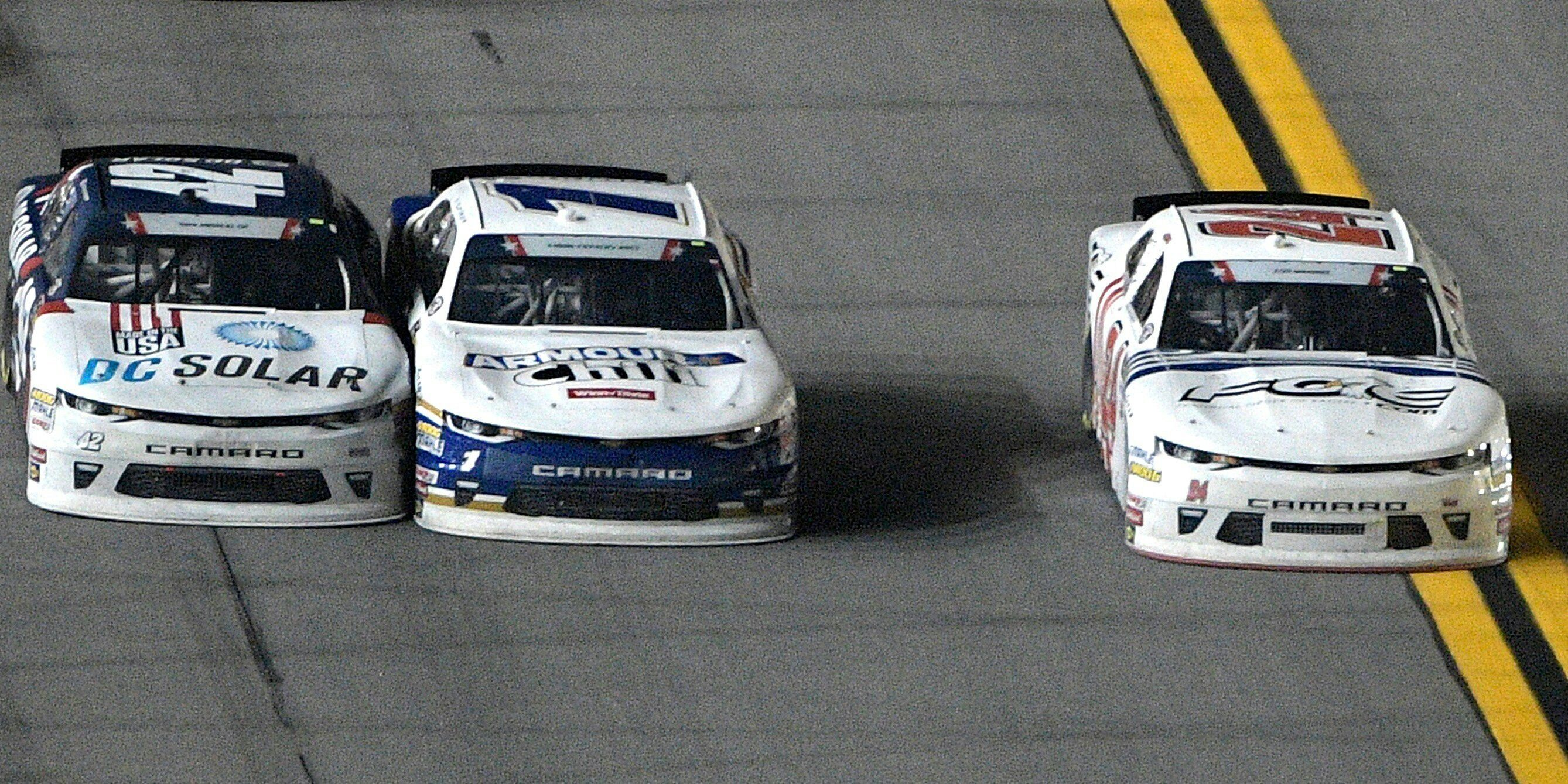rookie justin haley goes on the yellow line to pass kyle larson rh pinterest com