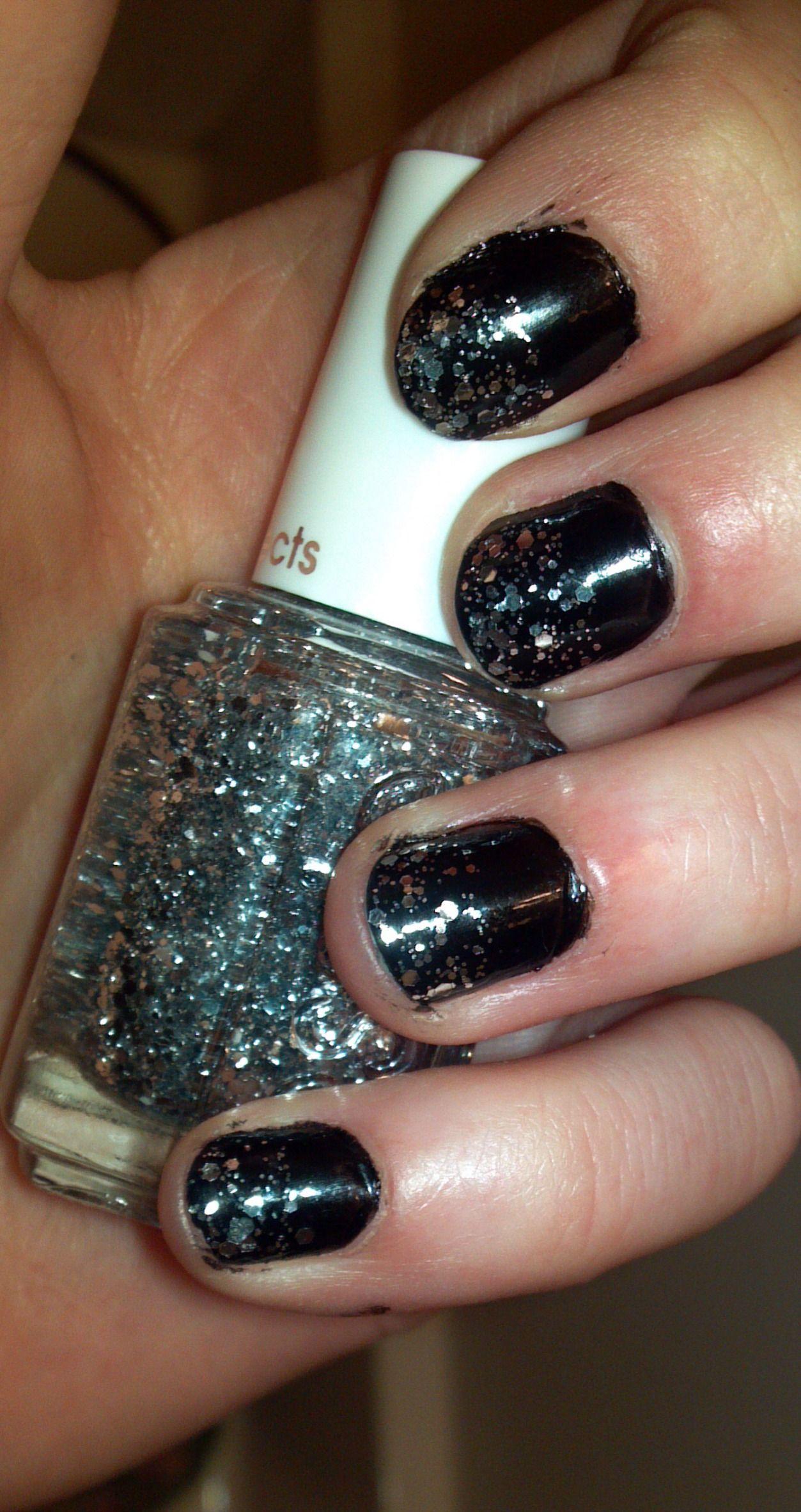 essie sparkle, black nail polish | pretty girl stuff | pinterest