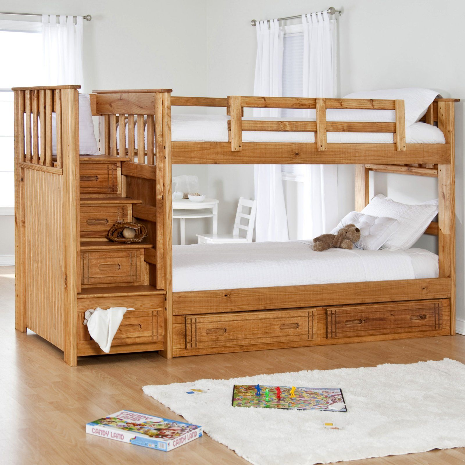 Twin loft bed ideas  Stairway II Twin over Twin Bunk Bed with Stairs   Free Mattresses