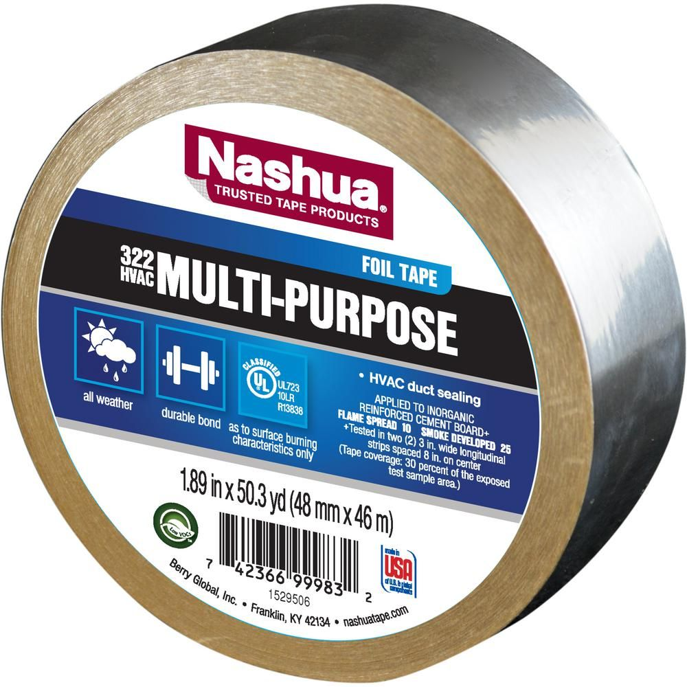 Nashua Tape 1 89 In X 50 Yd 322 Multi Purpose Hvac Foil Tape 1207792 The Home Depot Foil Tape Nashua Tape Heat Barrier