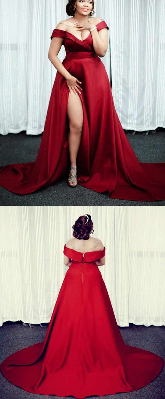 Plus Size Red Off The Shoulder Long Prom Dresses With Split Side