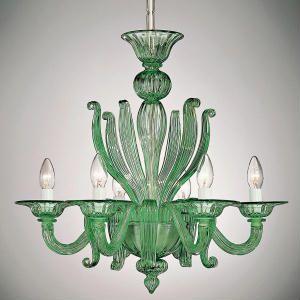 Green venetian style glass chandelier green murano glass ceiling italian lighting center presents its range of hand blown murano glass chandeliers and lights aloadofball Gallery