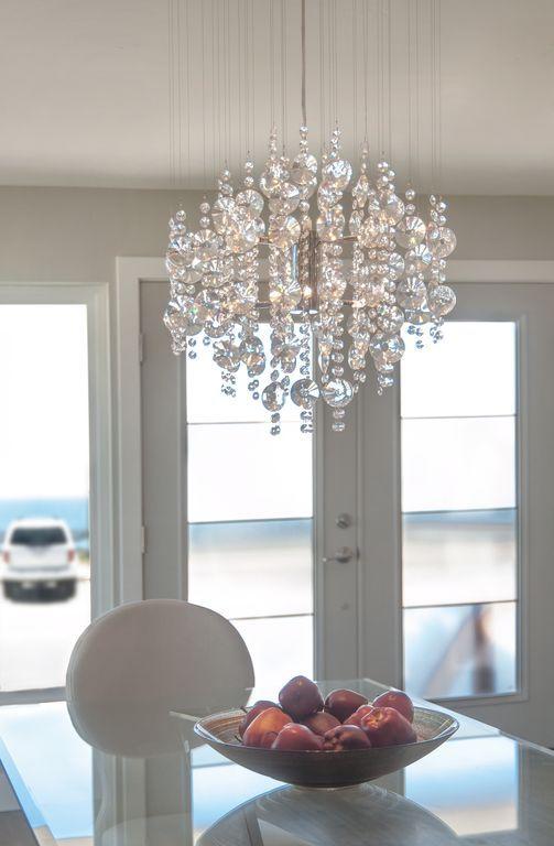 "Contemporary Entryway With Elegant Lighting Galaxy 32"" 6 Light New Dining Room Flush Mount Lighting Design Inspiration"