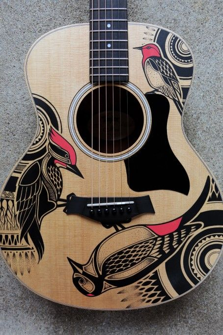 Posca guitar google search illustration markers for Acoustic guitar decoration ideas