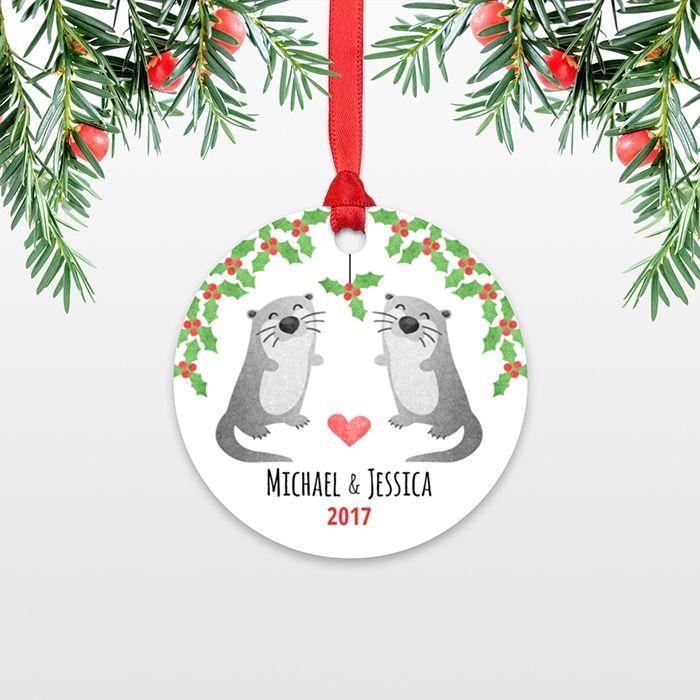 Otter Couple Personalized Christmas Ornament - custom christmas