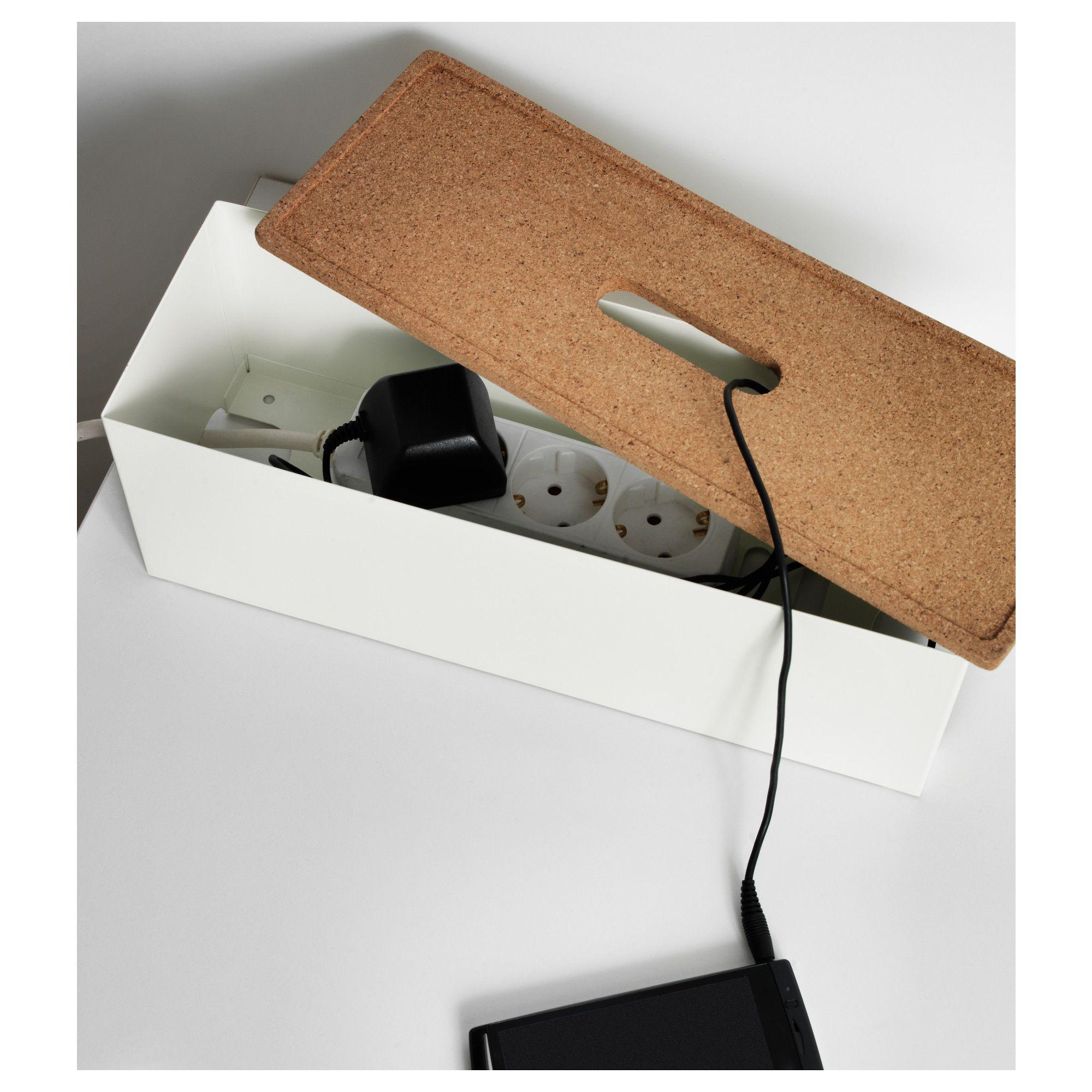 kvissle cable management box cork white cable. Black Bedroom Furniture Sets. Home Design Ideas