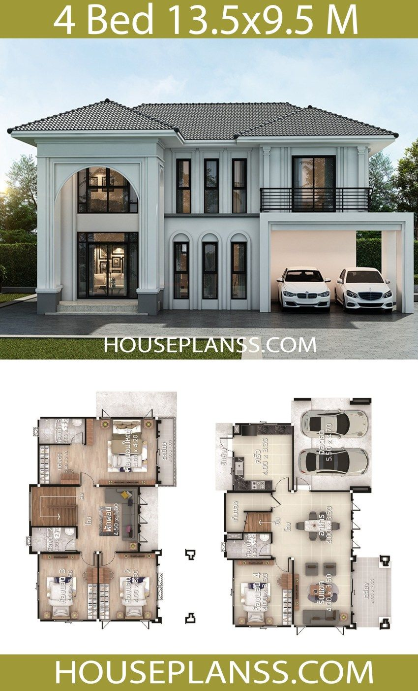 House Plans Design Idea 13 5x9 5 With 4 Bedrooms House Plans 3d Beautiful House Plans Sims House Plans House Layouts