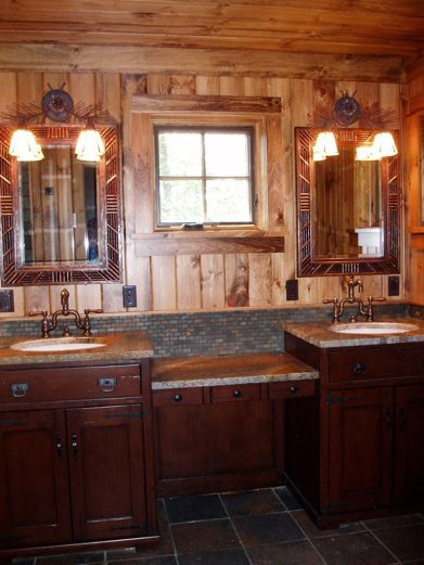awesome adirondack-style bathroom adkgreatcamps.com