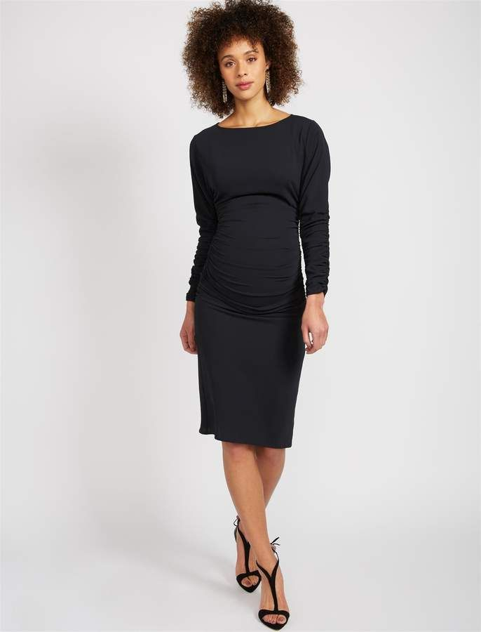 80b0384e27d1a BCBGMAXAZRIA Pea Collection Side and Sleeve Ruched Maternity Dress ...
