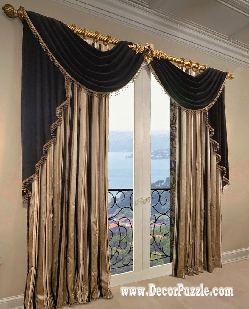 French curtains ideas modern luxury curtains black scarf Window curtains design ideas