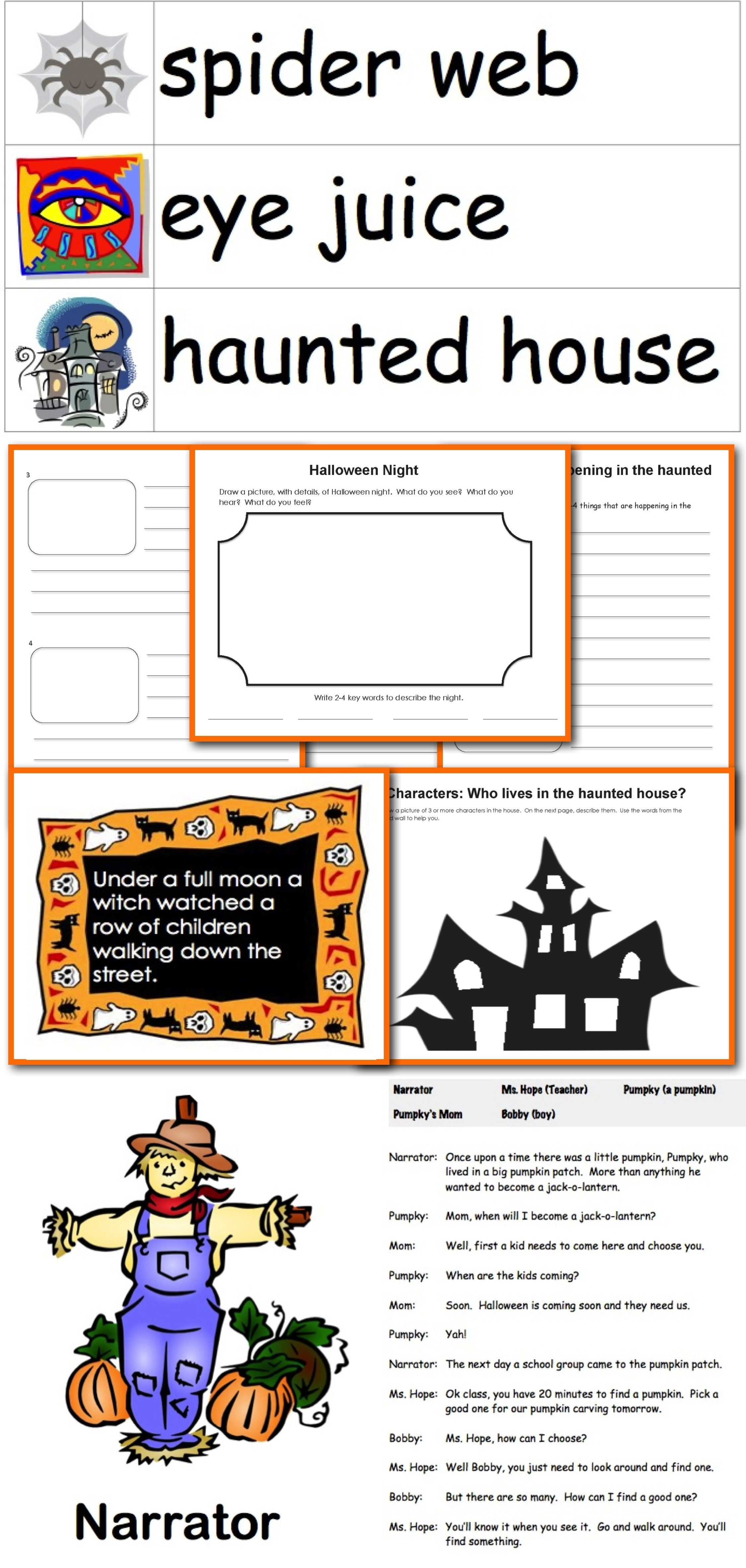 Halloween Story Writing And Readers Theater Bundle