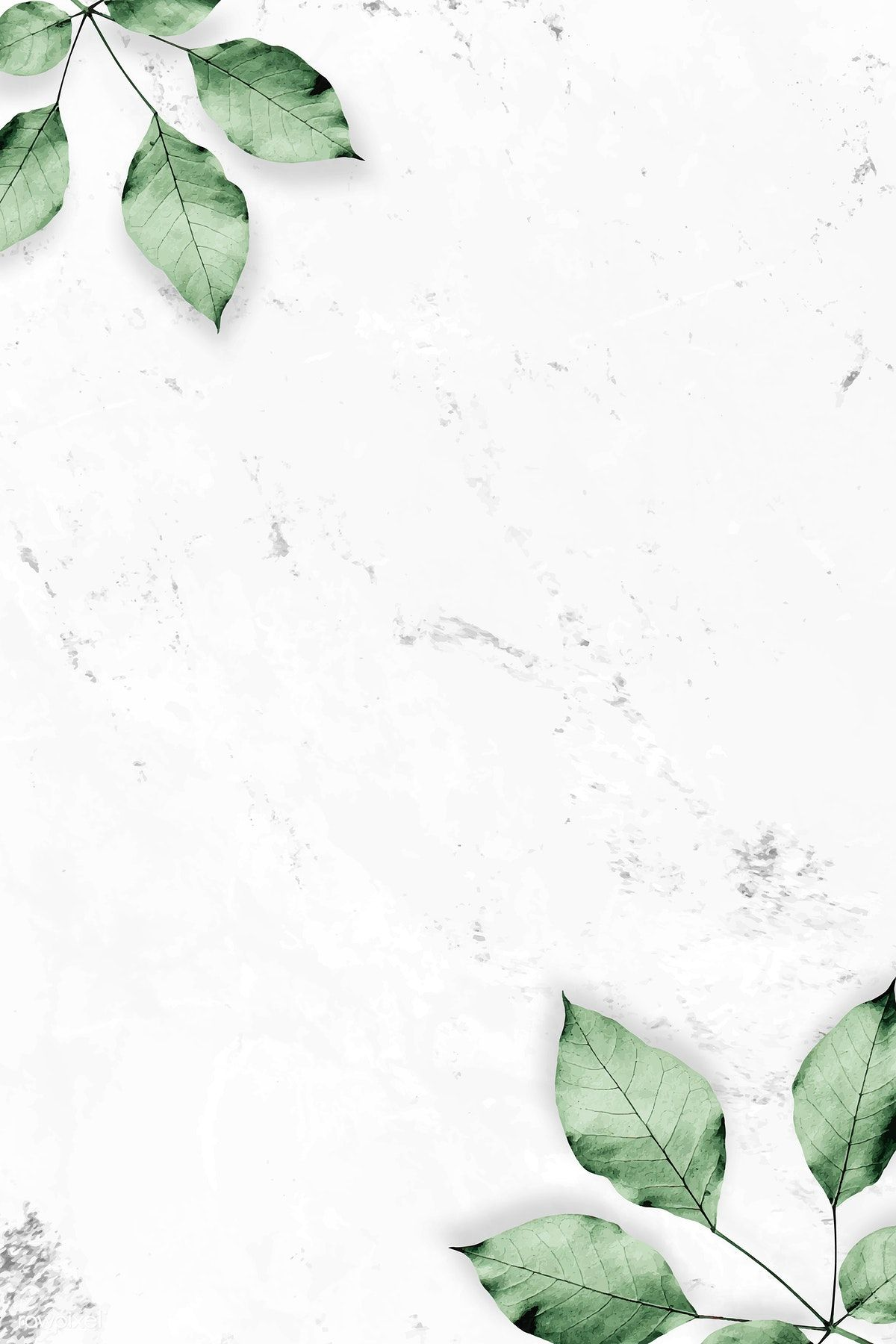 Download premium vector of Foliage pattern on marble textured background #marbletexture