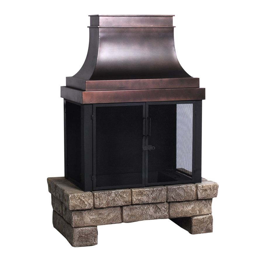 Shop allen + roth Stone and Bronze Outdoor Wood-Burning ...