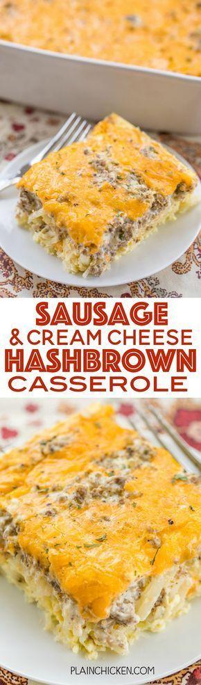 Sausage & Cream Cheese Hashbrown Breakfast Casserole – Plain Chicken