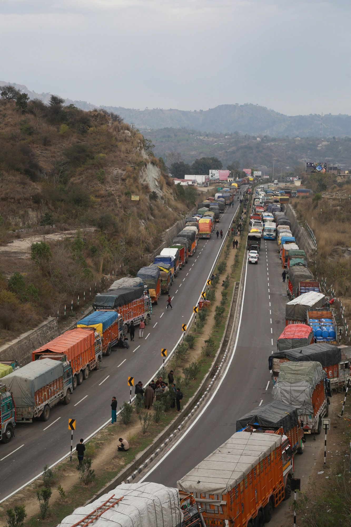 Stranded Vehicles Wait For The Opening Of The Jammu