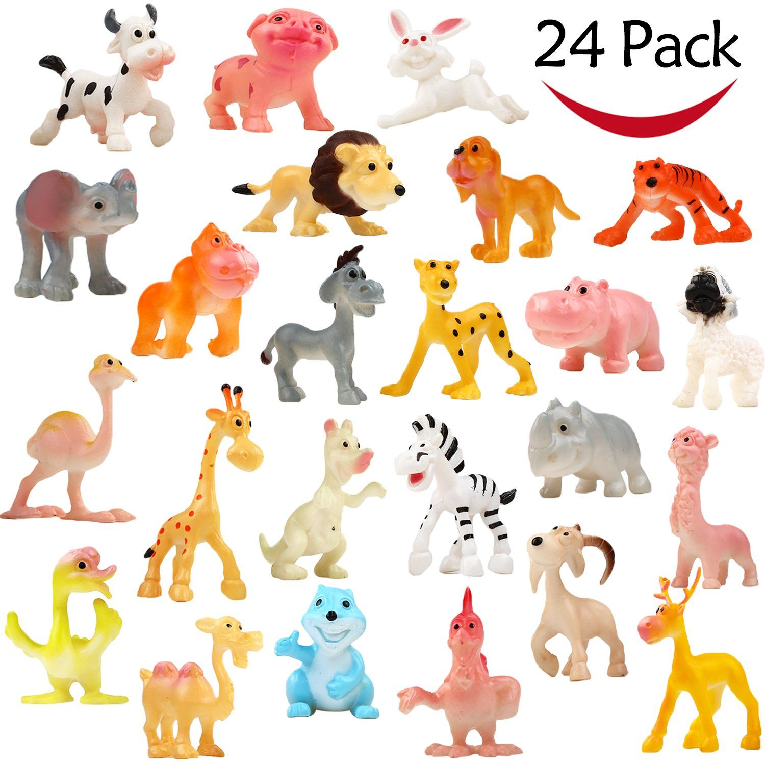 Cartoon Animal 24 Pack Mini Plastic Wild Animals Models