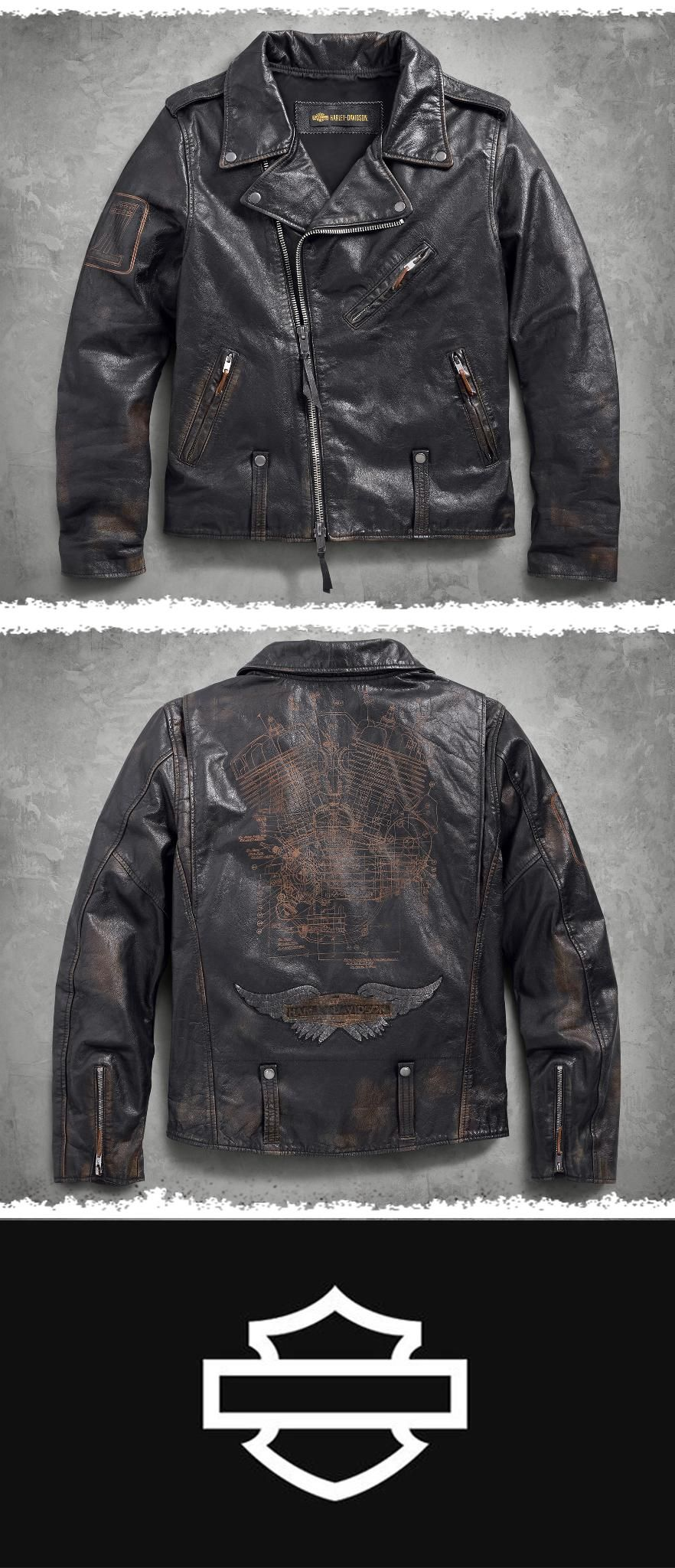 Master Distressed Leather Biker Jacket Harley Davidson Street