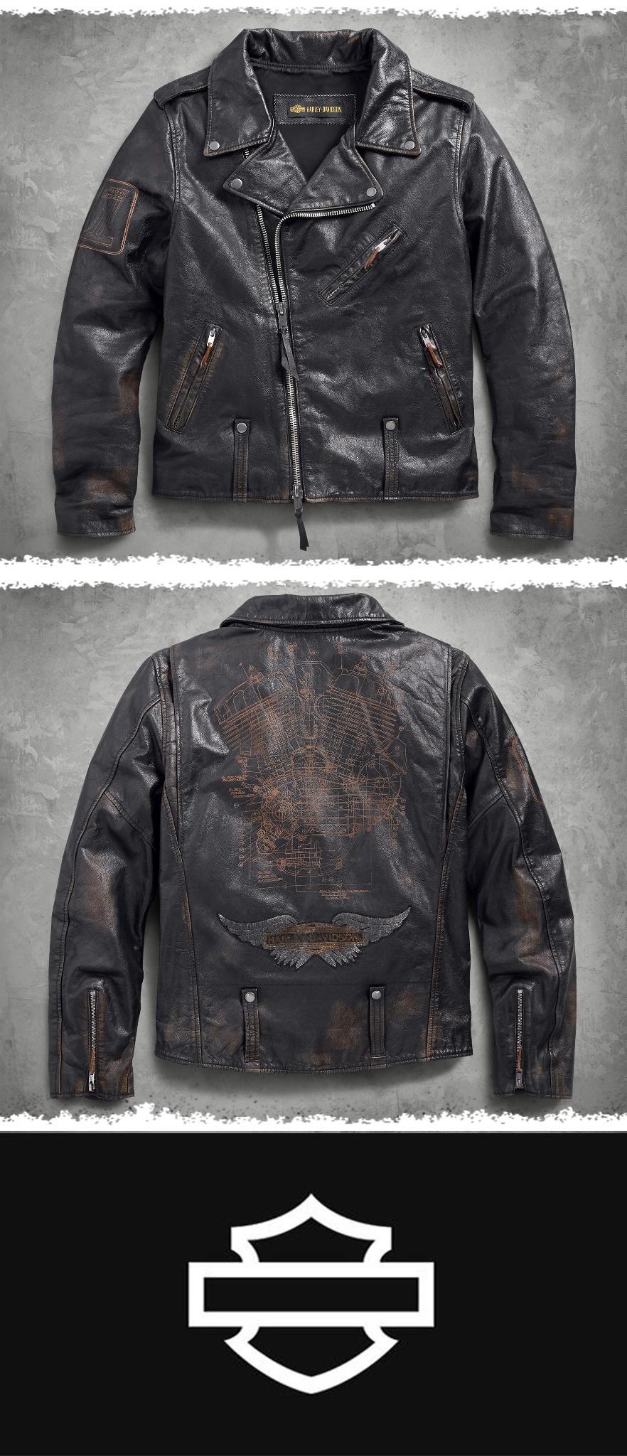 Master Distressed Leather Biker Jacket Harley Davidson