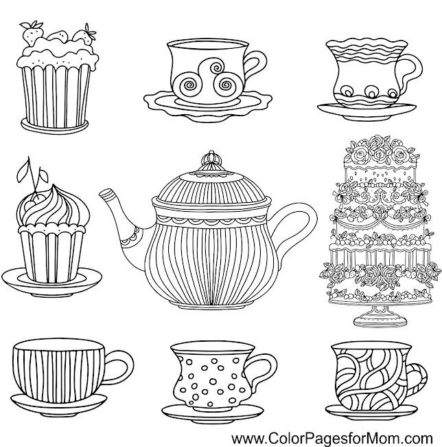Coffee Tea And Cake Coloring Page Adult Coloring Pages Color