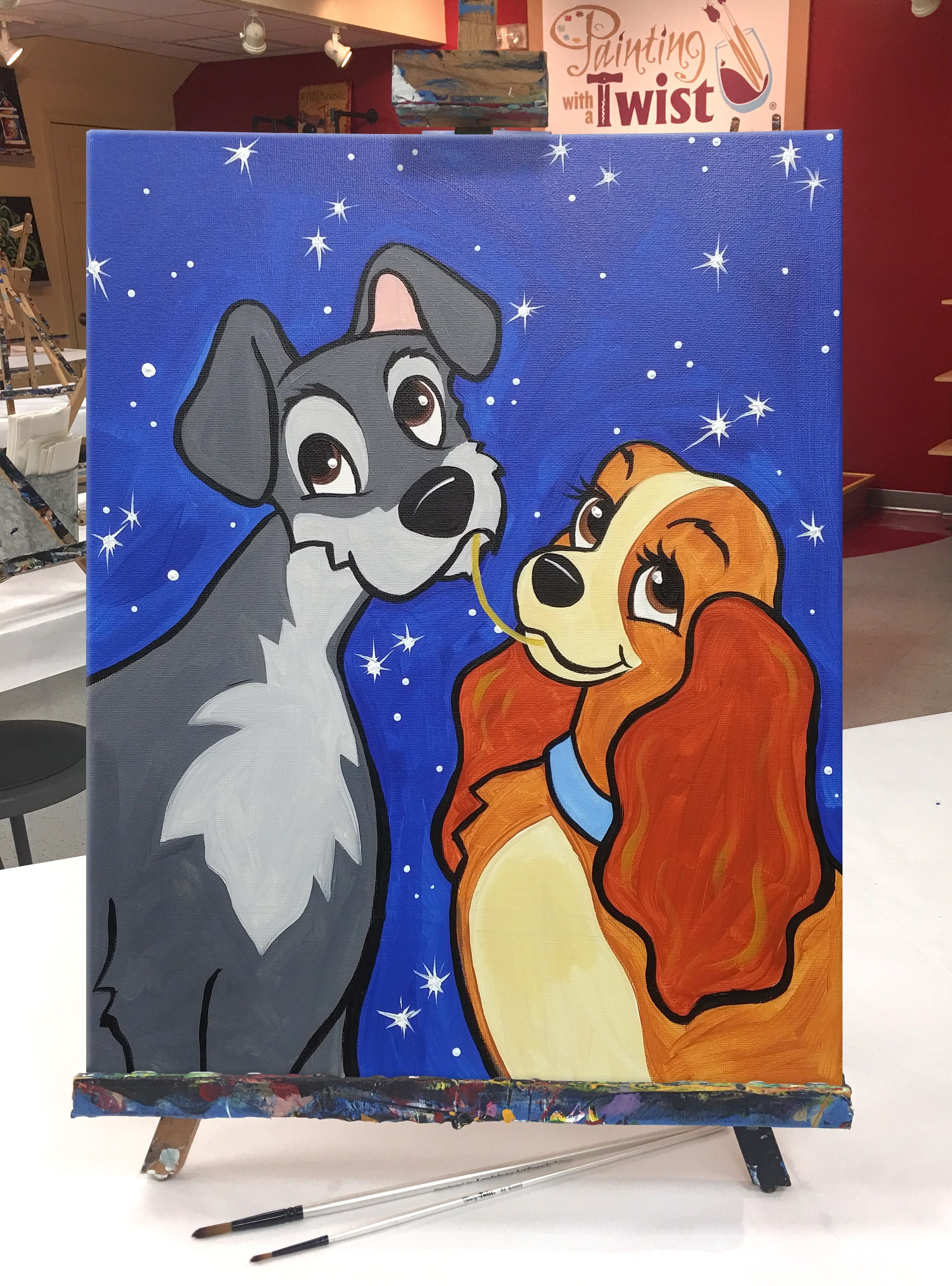 Indulge In A Little Puppylove This Weekend With This Painting Inspired By Disney S Lady And The Tr Disney Canvas Paintings Disney Canvas Art Disney Paintings